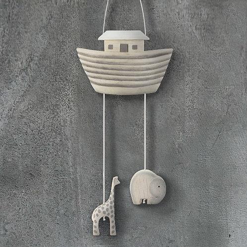 Wooden Noah's Arc mobile