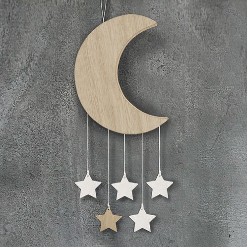 Wooden moon with hanging stars