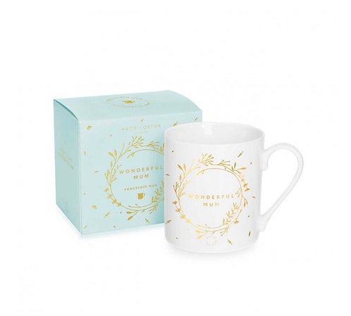 KATIE LOXTON| PORCELAINE MUG | WONDERFUL MUM | WHITE AND GOLD