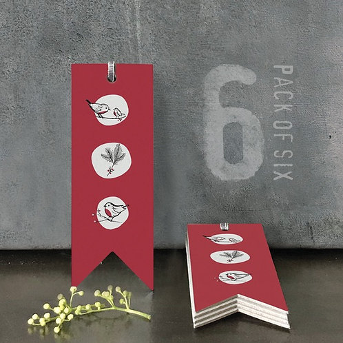 Set of 6 gift tags  Red Robins