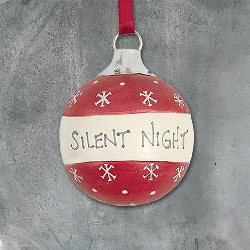 Silent night wooden bauble