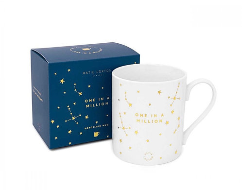 KATIE LOXTON| PORCELAIN MUG | ONE IN A MILLION | WHITE AND GOLD