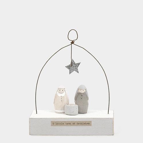 Wooden scene-Nativity/O little town of Bethlehem