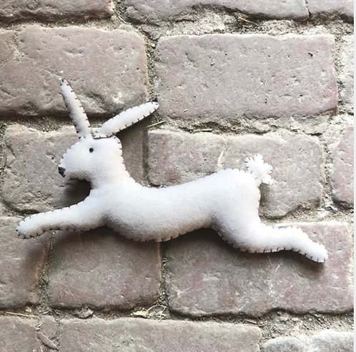 White leaping rabbit-Annie