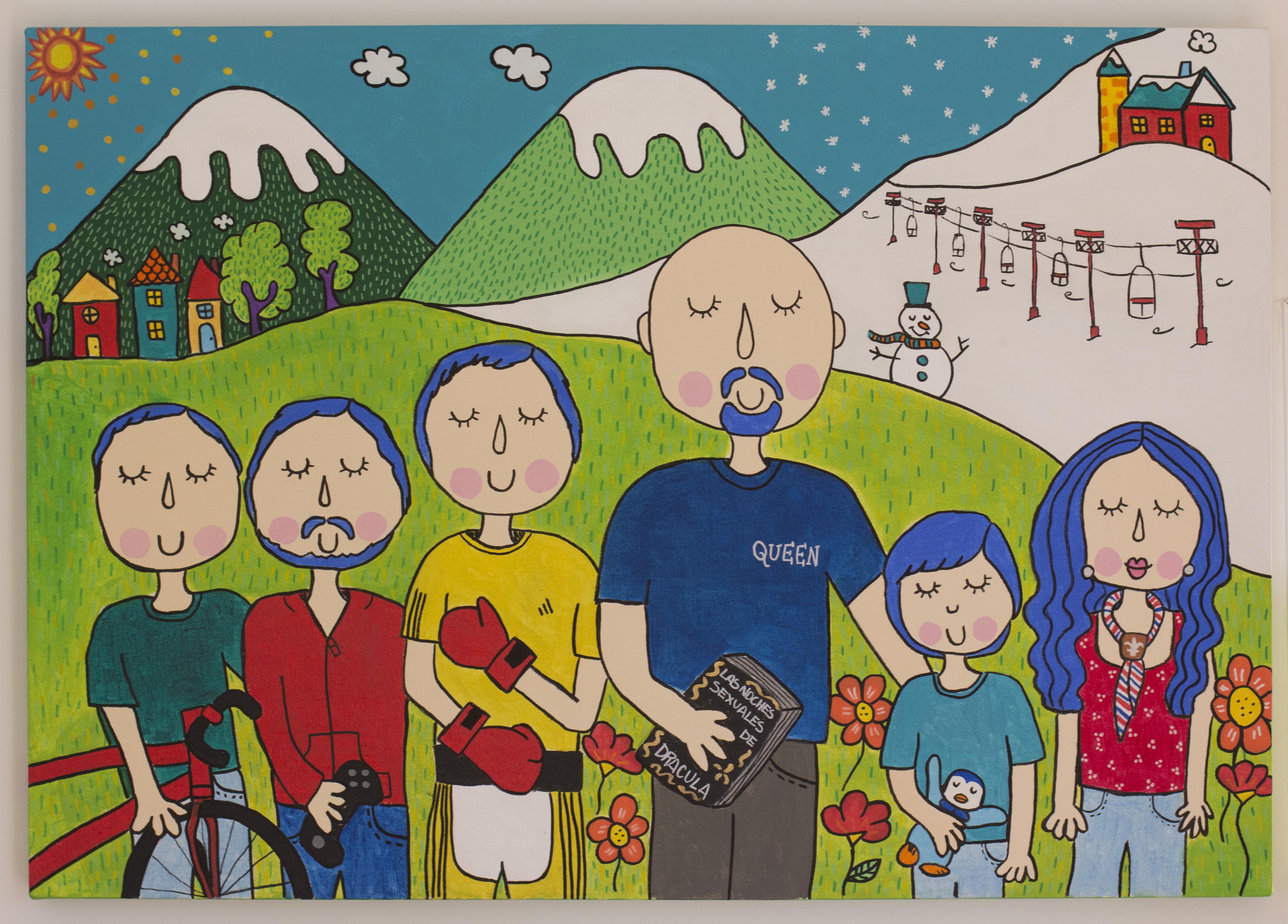 Familia de paseo en la montaña