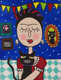 Frida y el gato negro