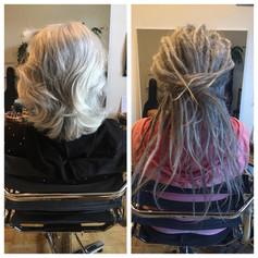 Caroline bekam 72 Dreads in 8,5 Stunden. Graues Haar ist oft störrischer und daher etwas aufwändiger zum dreaden.