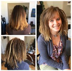 112 Dreads gab es für Anna innerhalb von 11 Stunden. Sie hat sehr starkes Haar und daher schauen da noch mehr Häärchen raus als bei Menschen mit dünnem Haar.