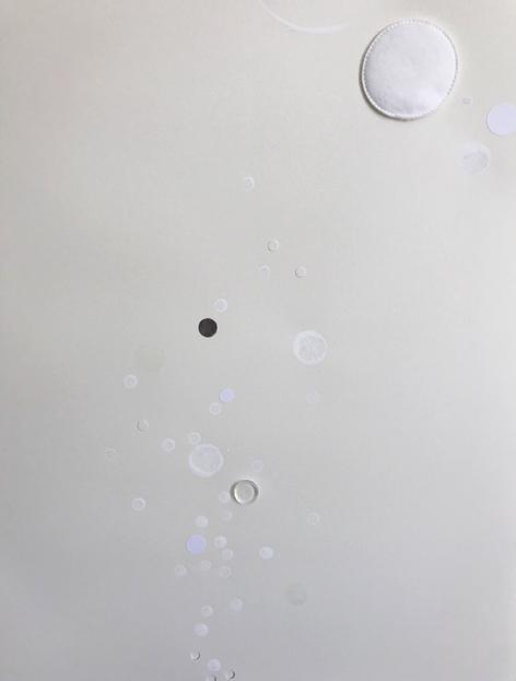 Água, adesivos, algodão, tinta esmalte e silicone sobre papel 42x60cm 2017