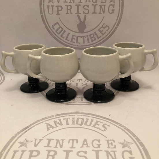 Vintage PUERTO RICO CARIBE Footed Coffee Footed Mugs Restaurant Ware -Set 4