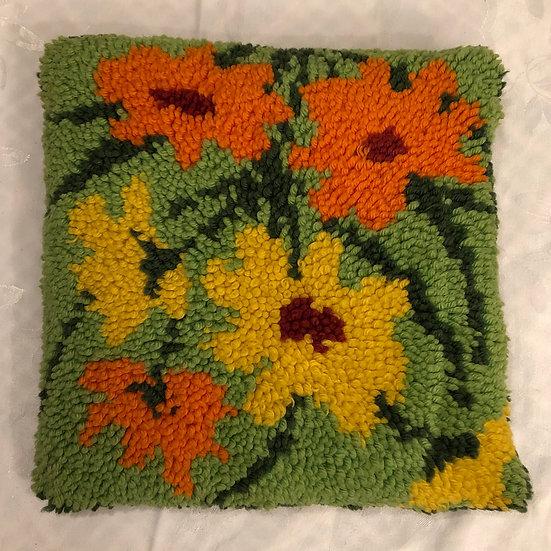 Vintage latch hook retro green orange and yellow pillow - 1970s, 70s, retro, yar