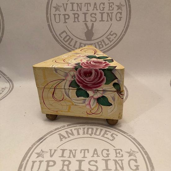 Vintage Hand Painted Triangle Floral Trinket Wood Box