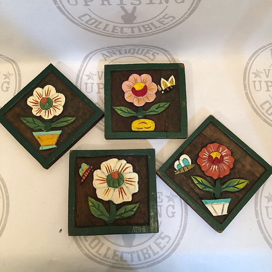 Beautiful Wood Carved Pictures of Potted Flowers / Hand Painted / Folk Art Wall