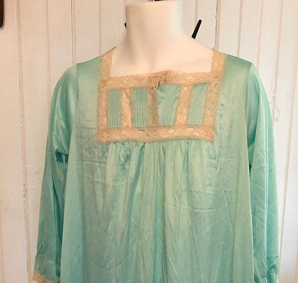 Vintage Turquoise Night Gown sz med