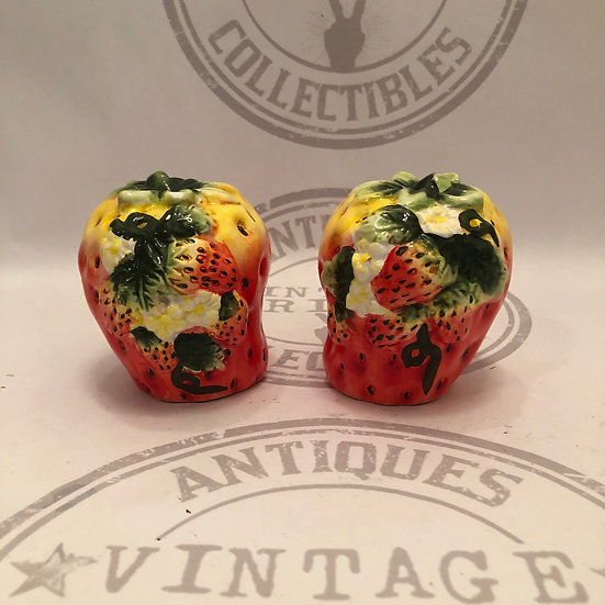 Vintage Strawberry Large Salt and Pepper Shakers