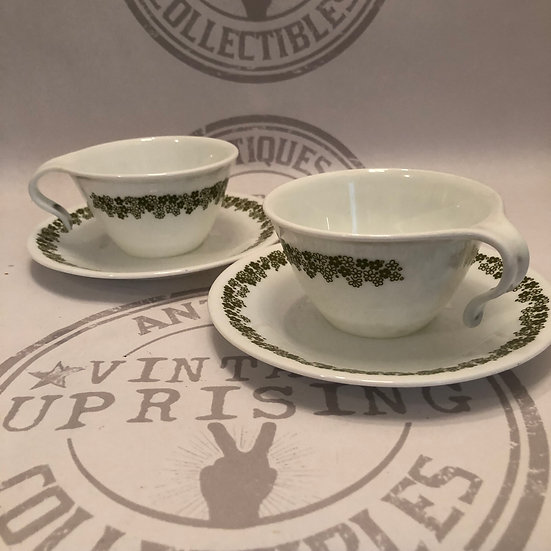 Pair of Corelle Corningware Spring Blossom Crazy Daisy Pattern, TeaCups and Sauc