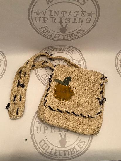 Vintage 1970's Knitted Cream color Shoulder Purse - Handbag