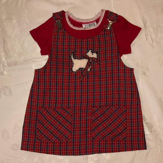 Red scotty dog overall dress