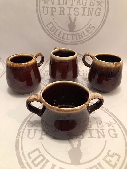 Vintage McCoy Pottery Brown Drip C Handle Coffee Cup Mug Dripware Round Body #70