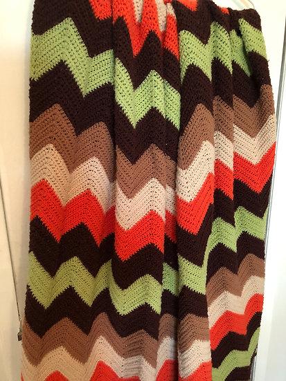 Vintage crochet afghan...chevron crochet throw blanket...crochet throw...crochet