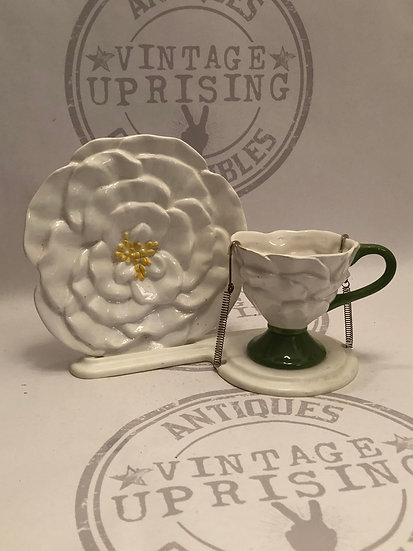 Vintage White Rose Teleflora Cup and saucer with wire stand