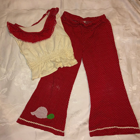 Red & White dots 2 pc Outfit w/ Turtle Applique