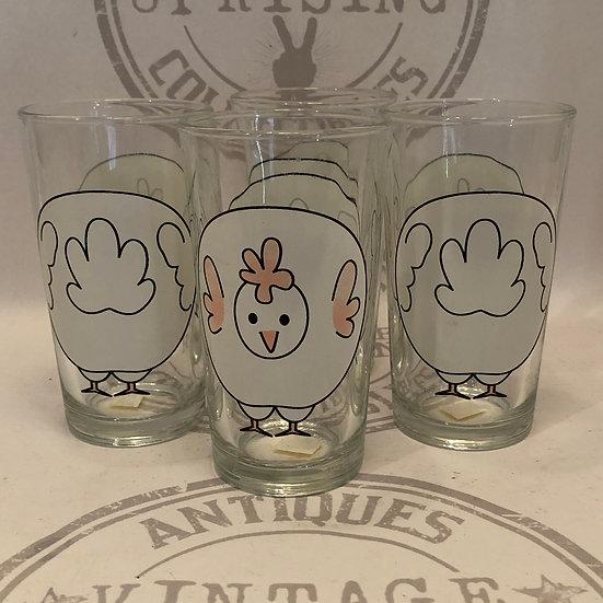 Vintage Firna Chicken Hen Clear Drinking Glasses