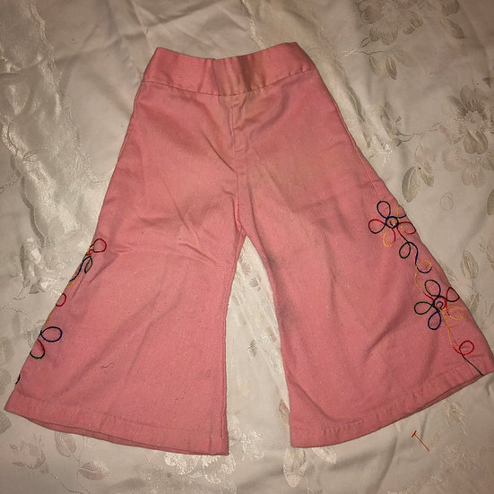 Pink pants in embroidery downside