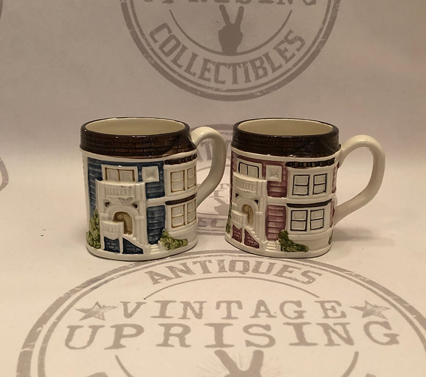 Vintage Two Otagiri Japan 3-D Victorian House Cups Mugs