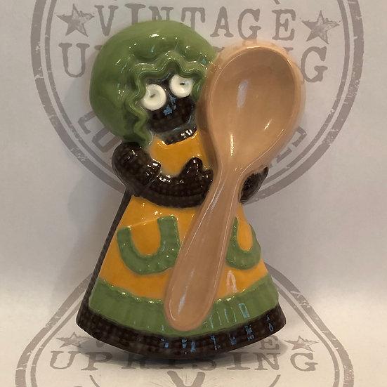 Vintage Ceramic Spoon Rest, Utensil Holder | Gingerbread Doll Utensil Holder, Si
