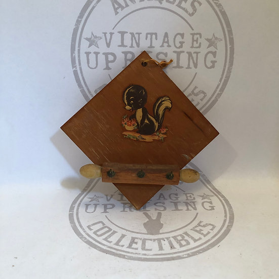 Vintage wooden key holder for wall with Skunk, key hook for wall