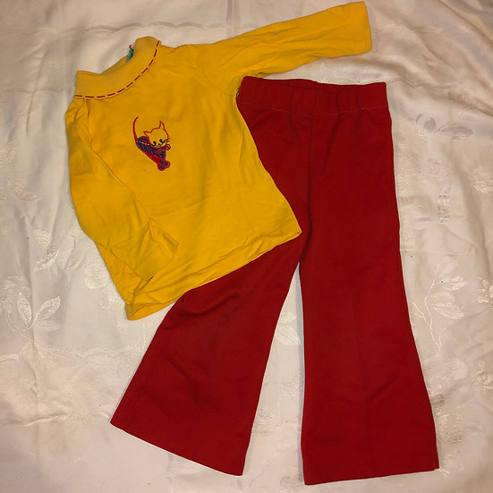 2 pc Yellow Cat Shirt and Red Pants