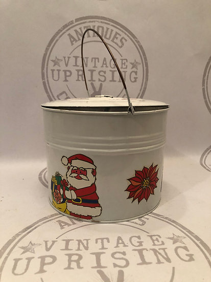 Christmas Metal Can Bucket with Handle