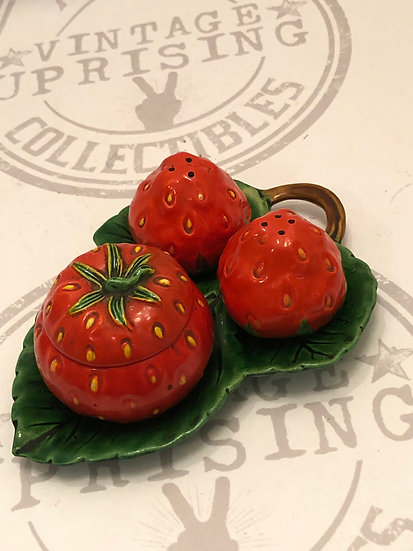 Strawberry Salt and Pepper Shakers And Sugar container