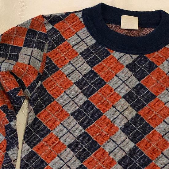 Blue and orange long sleeve shirt.
