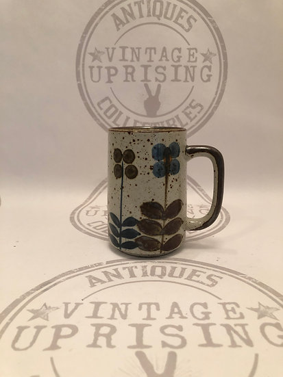 Vintage Speckled Stoneware Mug Flower and Leaves Coffee Cup