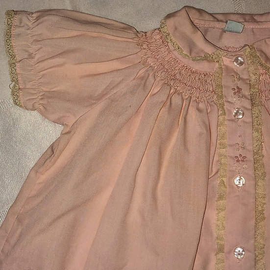 pink baby dress button down front