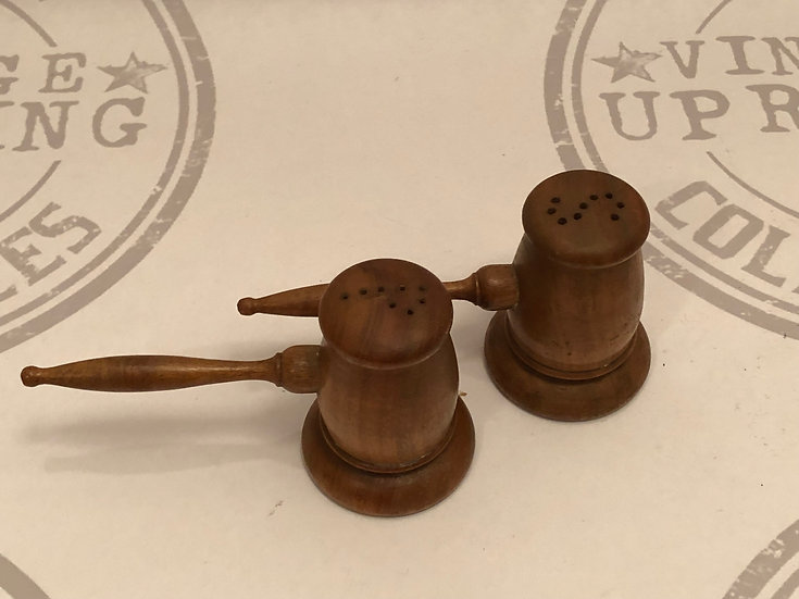 Vintage Mallet / Hammer / Gavel Salt and Pepper Shaker