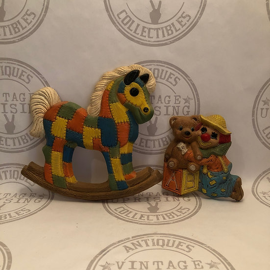 Children's Wall Hanging Decorations, 1970's Homco Patchwork Rocking Horse and Cl