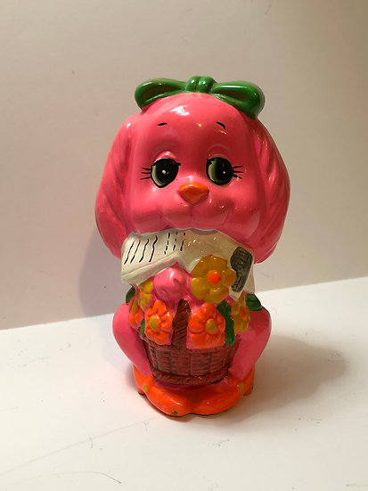 Vintage Paper Mache Bank Pink Puppy Dog Holiday Fair Japan 1969 Mid Century