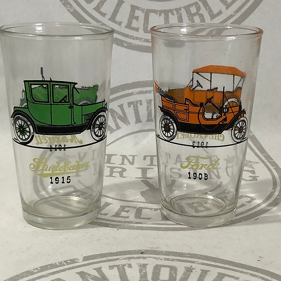 Vintage Car Glasses - Studebaker - Maxwell - Ford - Chevrolet Automobile