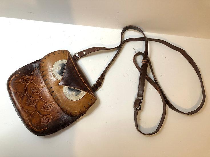 Brown Leather Hoot Owl Handbag Purse, medium size