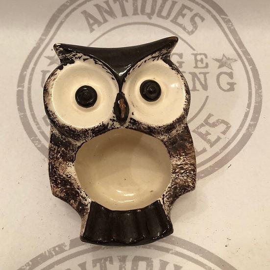 Vintage Ceramic Owl Ashtray Brown and White