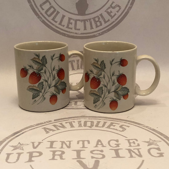 2 Strawberry Coffee Mugs