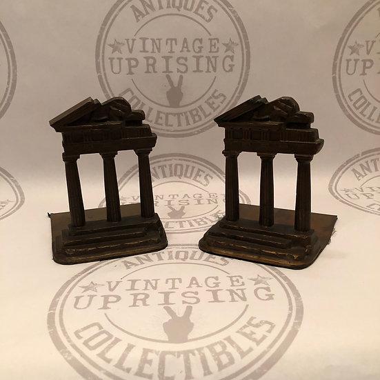 Antique Rare Handel-style Bookends Metal Roman Columns