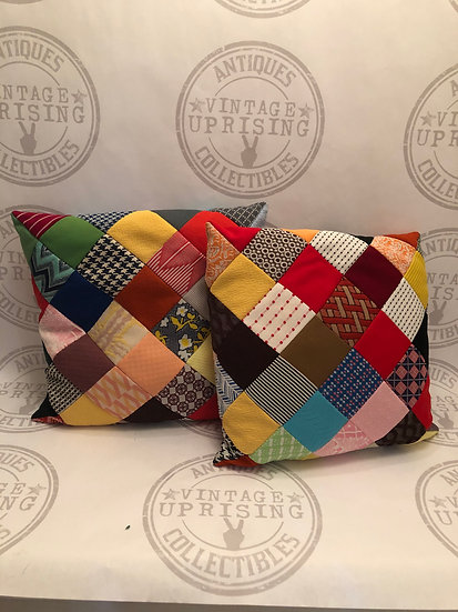 Vintage Homemade Patch Work Throw Pillows
