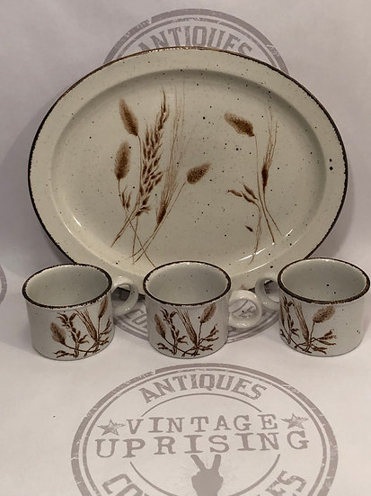 Vtg Wild Oats Stonehenge Platter and Mugs