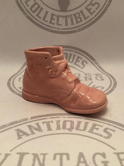 "Vintage 5 1/2"" Pink Baby Bootie Boot Shoe - Ceramic Figurine"
