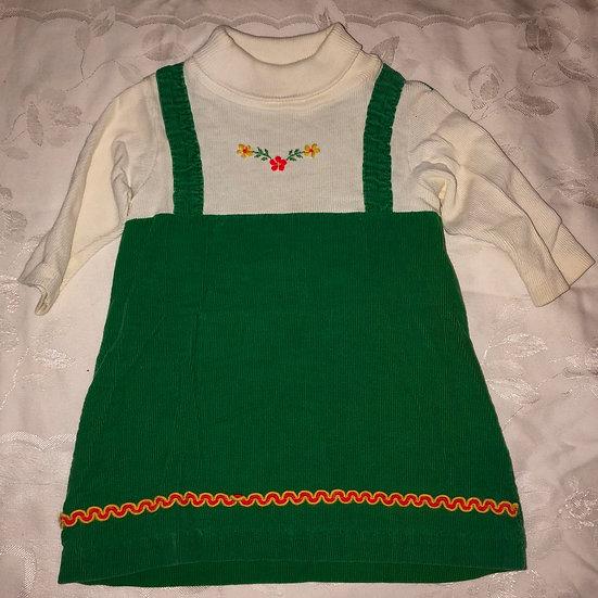 Green & White Corduroy Dress