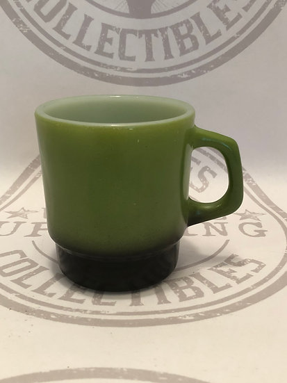 Fire King Anchor Hocking Tone Coffee Mug D Handle two tone of green and black